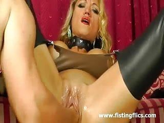 Breasty blonde milf enjoys a hard fisting big o
